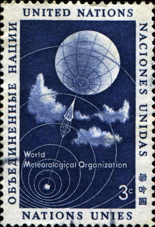 un used: UNITED NATIONS, OFFICES IN NEW YORK - CIRCA 1973  A stamp printed UN honoring World Meteorogical Organisation, circa 1973