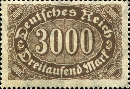 definitive: GERMANY CIRCA 1923  Definitive stamp printed in Germany shows sign of3000 mark, circa 1023