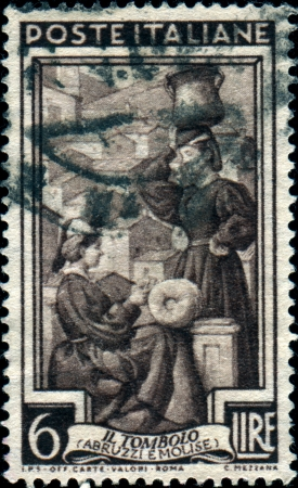 molise:  ITALY - CIRCA 1950  A stamp printed in  Italy shows Lace-making, Abruzzi e Molise, circa 1950  Editorial