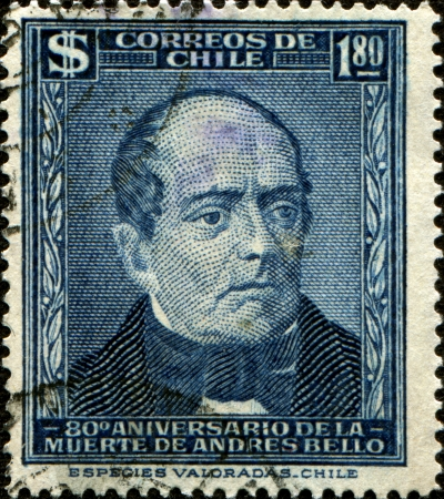 CHILE - CIRCA 1961  A stamp printed in the Chile shows Andres Bello, Venezuela-born Writer and Educator, circa 1961 Stock Photo - 17269818