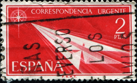 SPAIN - CIRCA 1956  A stamp printed in Spain from the  Express post  issue showing a paper arrow, circa 1956 Stock Photo - 17262107