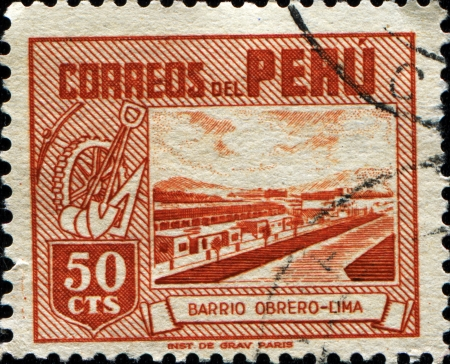 labourers: PERU - CIRCA 1938  A stamp printed in Peru shows Labourers Editorial