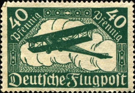 reich: GERMANY - CIRCA 1919  A stamp printed in Weimarer Republik - Deutsches Reich shows biplane, circa 1919