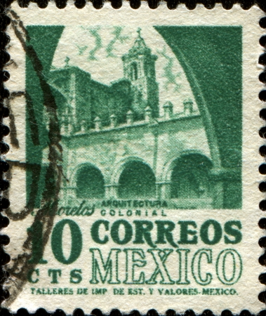 morelos:  MEXICO - CIRCA 1967  A stamp printed in Mexico shows building in Morelos, series colonial architecture, circa 1967