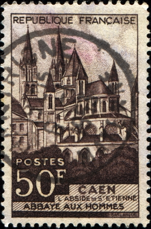 hommes:  FRANCE - CIRCA 1951  A stamp printed in France shows Abbaye aux, Hommes, Caen, circa 1951