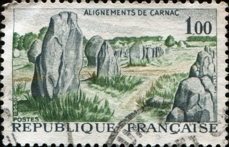 alignments: FRANCE - CIRCA 1965  A stamp printed in  France shows Prehistoric Stone Monuments, Carnac,  circa 1965
