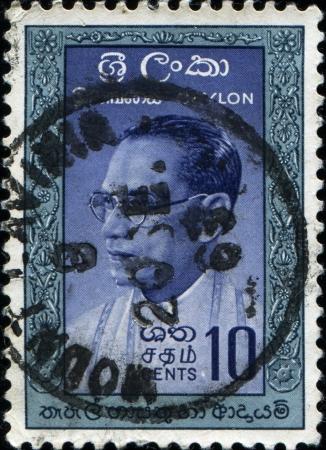 CEYLON - CIRCA 1964  A stamp printed in Ceylon  present time Sri Lanka  shows Dudley Shelton Senanayake Prime Minister of Ceylon, circa 1964  Stock Photo - 17269749