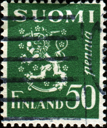 FINLAND - CIRCA 1930  A stamp printed in Finland shows coat of arms of Finland, series, circa 1930