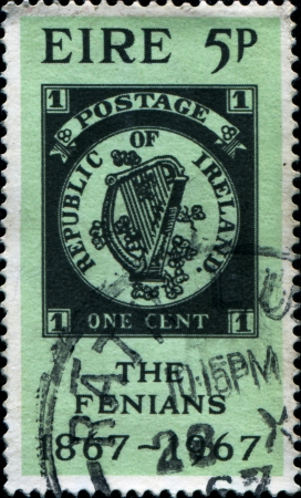 IRELAND - CIRCA 1967  A stamp printed in the Ireland shows Coat of Arms of Ireland, circa 1967