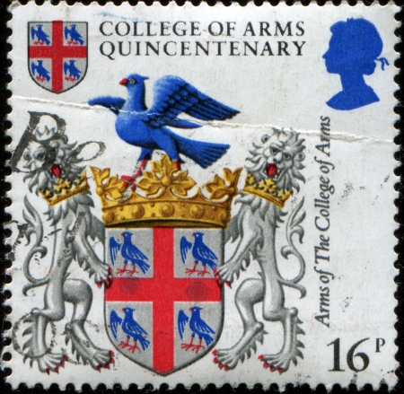UNITED KINGDOM - CIRCA 1984  A stamp printed in United Kingdom from the  500th Anniversary of College of Arms  issue shows Arms of the Collge of Arms, circa 1984