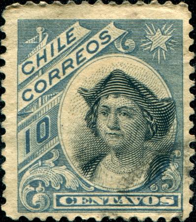 colonizer:  CHILE - CIRCA 1905 A stamp printed in the Chile shows Christopher Columbus, Cristobal Colon, Explorer, Colonizer, Navigator, circa 1905