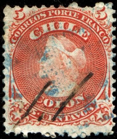 colonizer: CHILE - CIRCA 1867 A stamp printed in the Chile shows Christopher Columbus, Cristobal Colon, Explorer, Colonizer, Navigator, circa 1867