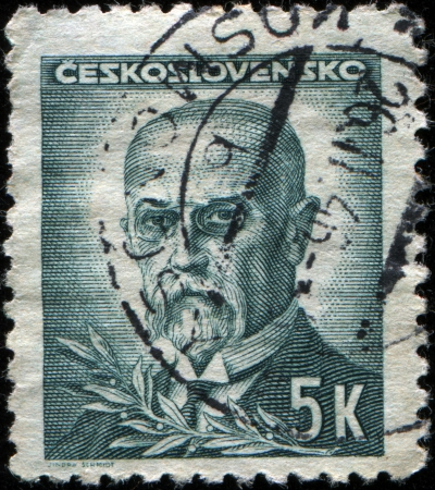CZECHOSLOVAKIA - CIRCA 1945  A stamp printed in the Czechoslovakia, shows the first president of Czechoslovakia, Thomas Masaryk, circa 1945