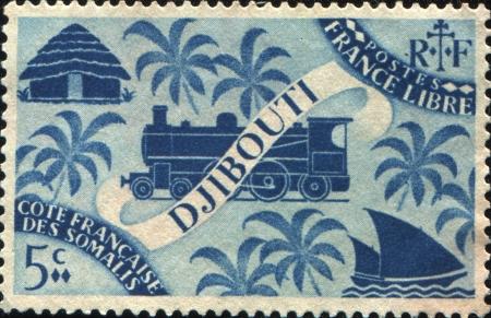 somali: FRANC�S COSTA DE SOMALIA - alrededor de 1943 Un sello impreso en la Costa francesa de los Somal�es muestra simb�lica de Djibouti, alrededor de 1943