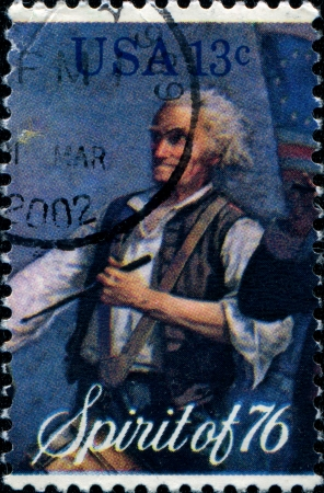 UNITED STATES OF AMERICA - CIRCA 1976   A stamp printed in the USA shows drumer, Spirit of 76, circa 1976