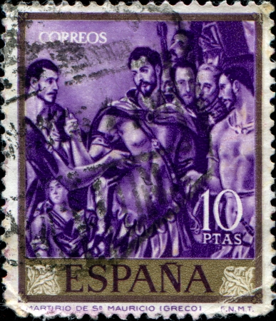 SPAIN - CIRCA 1961  A stamp printed in Spain  shows El Greco - Death of St Mauricio stamp, circa 1961 Stock Photo - 17269815