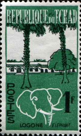 CHAD - CIRCA 1961  A stamp printed in Chad shows Logone and elephant, circa 1961  Stock Photo - 17262156