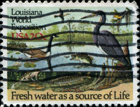 USA - CIRCA 1984  A stamp peuntaed in USA dedicated to The 1984 Louisiana World Exposition shows fresh water as a source of life, circa 1984 Stock Photo - 17269780