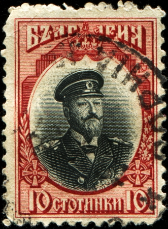BULGARIA - CIRCA 1911  A stamp printed in Bulgaria shows a portrait of Tsar Ferdinand, circa 1911 Stock Photo - 17262151