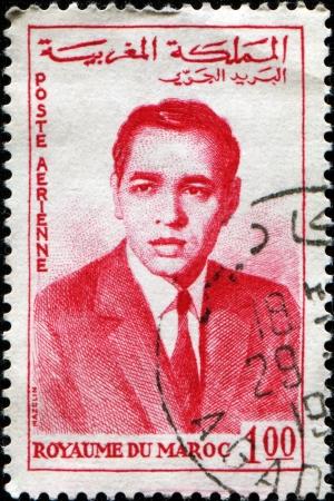 MOROCCO - CIRCA 1962  A stamp printed in Morocco shows king of Morocco Hassan II, circa 1962