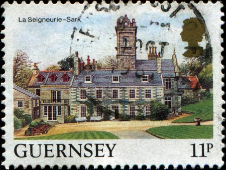 GUERNSEY - CIRCA 1984  A stamp printed in  Guernsey shows Views La Seigneurie, Sark, circa 1984 Stock Photo - 17269750