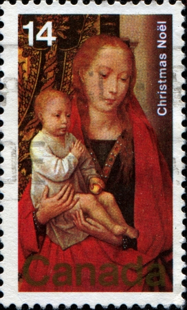 CANADA - CIRCA 1978  A stamp printed in Canada shows Virgin and Child with St  Anthony and Donor  detail, Hans Memling  , circa 1978  Stock Photo - 17269711