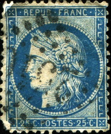 marianne:  FRANCE - CIRCA 1870  A stamp printed in France, shows Marianne is a national emblem of France, circa 1870