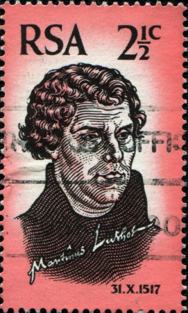 reformation: SOUTH AFRICA - CIRCA 1967  A stamp printed in South Africa celebrates the 450� anniversary of the Protestant Reformation, shows Martin Luther, circa 1967