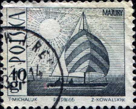 POLAND - CIRCA 1966  A stamp printed in Poland shows Amethyst yacht on Masurian Lake, circa 1966