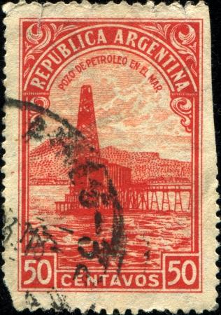 ARGENTINA - CIRCA 1936: A stamp printed in  Argentina shows Oil Well, Petroleum, circa 1936