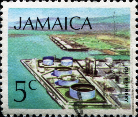 JAMAICA - CIRCA 1972: A stamp printed in Jamaica shows oil refinery, circa 1972