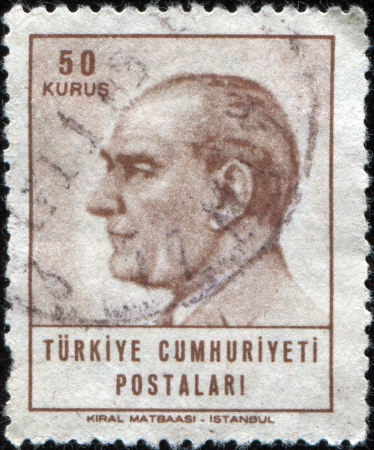 TURKEY-CIRCA 1965: A stamp shows image portrait Mustafa Kemal Ataturk was a Turkish, statesman, writer, and founder of the Republic of Turkey, as well as the first Turkish President, circa 1965 Stock Photo - 17269766