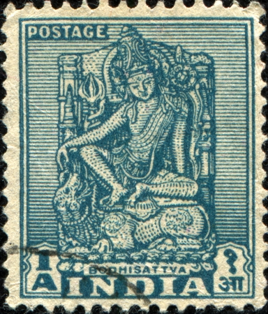 INDIA - CIRCA 1949  A stamp prunted in India shows Bodhisattva, circa 1949