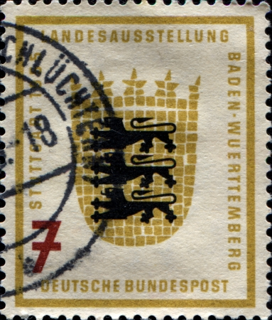 GERMANY - CIRCA 1955  A stamp printed in German Federal Republic shows Coats of Arms of Baden-Wurttemburg, honoring Baden-Wurttemberg Agricultural Exhibition, Stuttgart, circa 1955 Stock Photo - 17269449