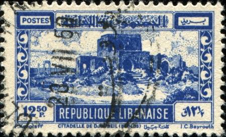 LEBANON - CIRCA 1945  A stamp printed in Lebanon shows Crusader Castle, Byblos, circa 1945 Stock Photo - 17269452
