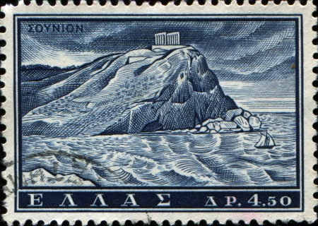 GREECE - CIRCA 1961  A stamp printed in Greece from the  Tourist Publicity  issue shows Poseidon temple, Sounion, circa 1961 Stock Photo - 17269479