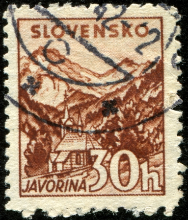 SLOVAKIA - CIRCA 1943: A stamp printed in Slovakia showing Javorina circa 1943  Stock Photo - 17269722