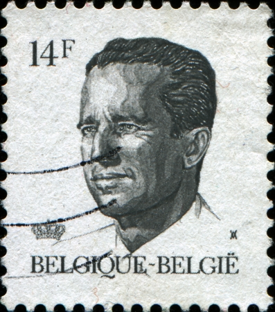BELGIUM - CIRCA 1982  A stamp printed in Belgium shows portrait of King Baudouin  Albert Charles Leopold Axel Marie Gustave de Belgique , circa 1982