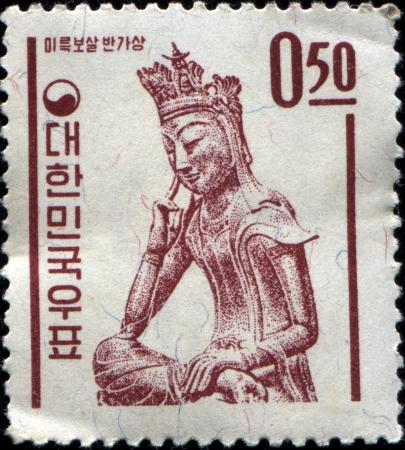 KOREA - CIRCA 1962  A stamp printed in South Korea shows  Statue of Goddess Mikuk Besal , circa 1962