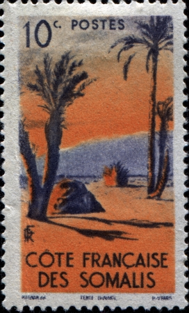 FRENCH SOMALI COAST - CIRCA 1947  A stamp printed in  French Somali Coast shows Danakil Tent, circa 1947