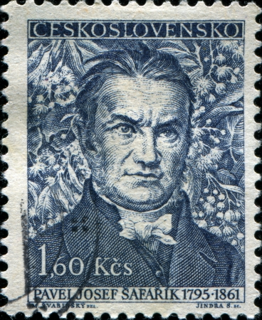 CZECHOSLOVAKIA - CIRCA 1961  A stamp printed in Czechoslovakia shows Pavel Josef Safarik  was a Slovak philologist, poet, one of the first scientific Slavists; literary historian, historian and ethnographer, circa 1961 Stock Photo - 17269816