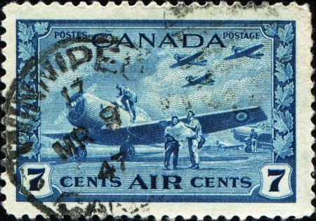 CANADA - CIRCA 1942  A stamp printed in Canada shows  Air Training Camp, circa 1942 Stock Photo - 17269764