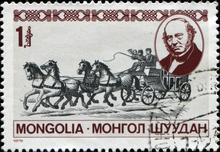 MONGOLIA - CIRCA 1979: A stamp printed by Mongolia shows  Travelling post office, London, Birmingham railway, honoring Death Centenary of Sir Rowland Hill, circa 1984