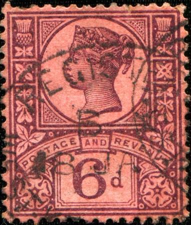 GREAT BRITAIN - CIRCA 1887  A stamp printed in Great Britain shows queen Victoria, circa 1887  Stock Photo - 17269475