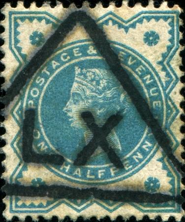 UNITED KINGDOM - CIRCA 1887  A post stamp printed in United Kingdom shows Queen Victoria, circa1887 Stock Photo - 17269440
