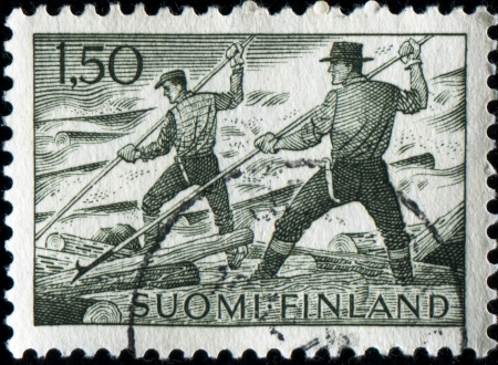 tree service pictures: FINLAND - CIRCA 1963  A stamp printed in  Finland shows Loggers, circa 1965