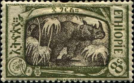 ETHIOPIA - CIRCA 1919: A stamp printed in Ethiopia shows Black rhinoceros, circa 1919
