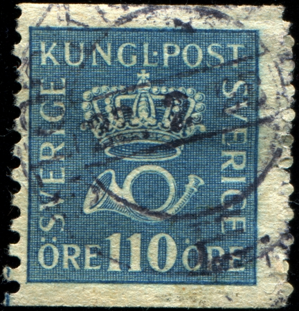 SWEDEN - CIRCA 1920  A stamp printed in  Sweden shows Crown and Post Horn, circa 1920