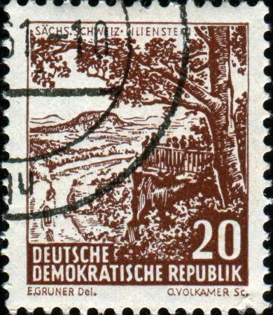 schweiz: GDR- CIRCA 1956  A stamp printed in  DDR  East Germany  showing Sachs Schweiz Lilienstein, circa 1956