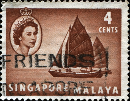 malaya: SINGAPORE - CIRCA 1955  A stamp printed in Singapore and Malaya showTwa-kow lighter , circa 1955